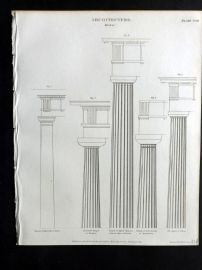 Rees 1820 Antique Print. Architecture 18 Doric Columns